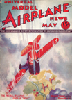Model Airplane News Cover for May, 1933 by Jo Kotula Curtiss-Wright Travelair Speedwing