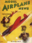 Model Airplane News Cover for November, 1936 by Jo Kotula Heinkel He 70
