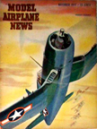 Model Airplane News Cover for November, 1943 by Jo Kotula Chance-Vought F4U Corsair