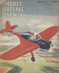 Model Airplane News Cover for November, 1945 by Jo Kotula Piper PA-8 Sky Cycle