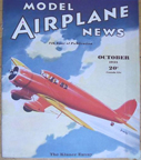Model Airplane News Cover for October, 1935 by Jo Kotula Kinner Envoy