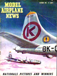 Model Airplane News Cover for October, 1951 by Jo Kotula Boeing B-50 Superfortress