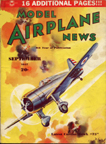 Model Airplane News Cover for September, 1937 by Jo Kotula Curtiss Model 75 Export Hawk