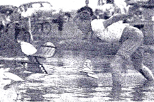 Rise off water model airplane launch