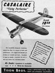 Casalaire model airplane designed by Lou Casale Tison Bros. Co.