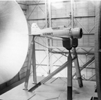 The Northrup XFT Fighter -- model in wind tunnel