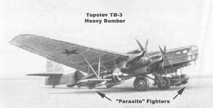The Polikarpov I-5 as a parasite fighter on the Tupolev TB-3 heavy bomber