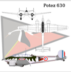 The Potez 630 three view drawing