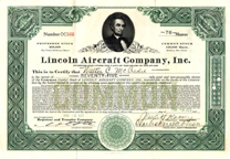 Lincoln Aircraft Company Stock certificate