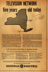 Vintage Television Advertisement  two station network in 1945 New York Times