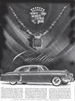 Advertisement for the 1949 cadillac in the February 1949 issue of HOLIDAY Magazine