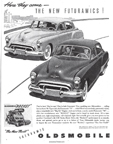 Advertisement for the Oldsmobile Rocket 88 in the February 1949 issue of Holiday Magazine