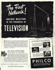 Vintage Television Advertisement Philco and networks, LIFE magazine 1944