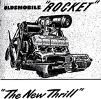 Detail of the famous Rocket EngineAdvertisement for the Oldsmobile Rocket 88 in the February 1949 issue of Holiday Magazine