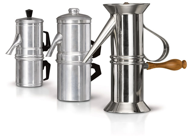 Various sizes of Napoletana Coffee Makers