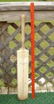 John Edrich  Cricket Bat with a yardstick for reference
