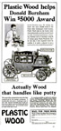 Endorsement of Plastic wood by Napoleonic Coach winnert from June 1932 issue of Popular Mechanics