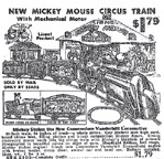 1937 Ad for the Mickey mouse Circus Train