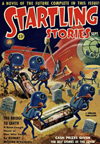 Startling Stories Science Fiction magazine cover - The Bridge to earth