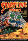 Startling Stories Science Fiction magazine cover - The Three Planeteers