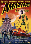 Amazing Stories Science Fiction magazine cover Trapped on Titan