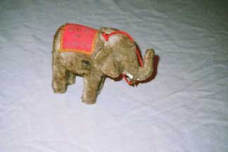 Elephant Plush Wind-up Toy from the 1950s
