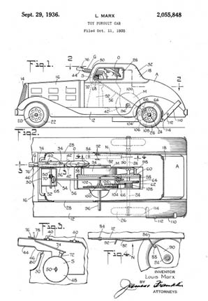 Louis Marx patent 2055848 G-Man Pursuit Car