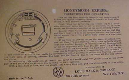 Marx Honeymoon Express Toy-instructions