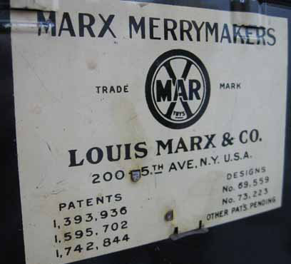 Marx Merrymakers - manufacturer's plate