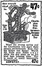1931 Sears Catalogue Ad for the Charleston Dance Band mechanical toy)