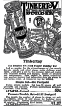 Tinker Toy advertisement from the 1929 Sears Catalogue