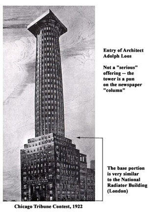 Entry of Adolph Loos in Tribune Tower Competition