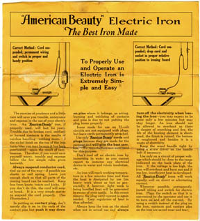 American Beauty Iron Instructions Front