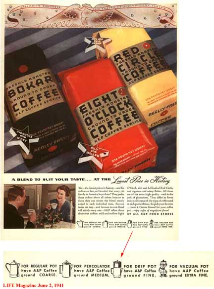 A and P Coffee Ad - June 2, 1941