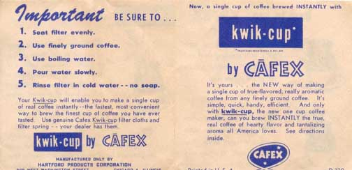 CAFEX kwik-cup brewer- Directions