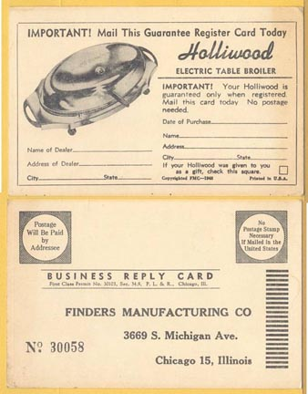 Holliwood Broiler - Warranty Card