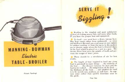 Manning-Bowman Smokeless Table Broiler - Intro in Manual