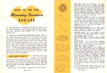 Manning-Bowman Smokeless Table Broiler - Parts description