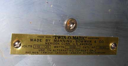 Twin-O-Matic Manufacturer's Plate