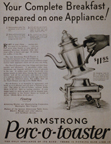 Armstrong Perc-O-Toaster Ad in the May 1931 Saturday Evening Post