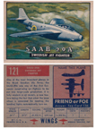 Card 121 of the Wings Friend or Foe series The SAAB J-21R