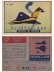 Card 132 of the Wings Friend or Foe series  The Gloster Javelin